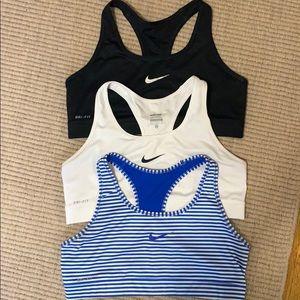 3 Nike Pro Dri-Fit Sports Bras (Large)